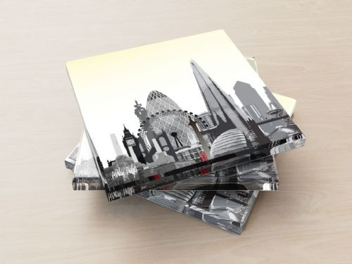 London Skyline Yellow - Glass Coasters